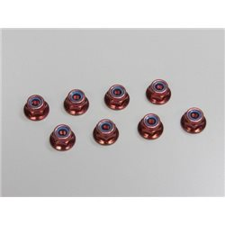 NYLON LOCK FLANGED STEEL NUTS M4X5.6 (8) - RED