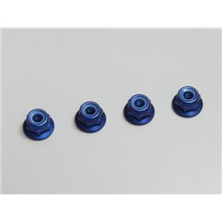 ALU NYLON LOCK FLANGED NUTS M4X4.5 - BLUE (4)