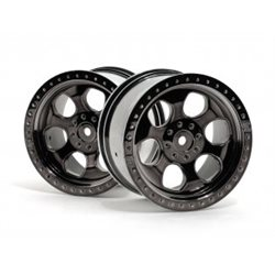 6 SPOKE WHEEL BLACK CHROME 83X56MM/2PCS/SAVAGE