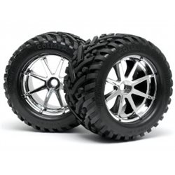 MOUNTED GOLIATH TIRE 178X97MM ON BLAST WHEEL CHROME
