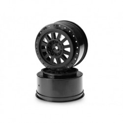 "Rulux - SC10 | SC10 4x4 12mm hex wheel - 2.2"" x 3.0"" (black) - (requires JC part no 2081 for SC10)"