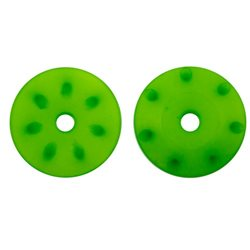 16mm CONICAL SHOCK PISTONS GREEN (1.3mm x 7 angled holes) (2pcs)